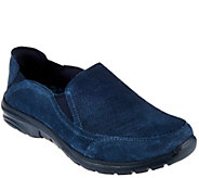 As Is Skechers Suede Relaxed Fit Slip-on Shoes - Relaxed Living - A278765