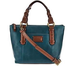 Tignanello Vintage Leather RFID Mini Tote with Braided Handles