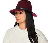H by Halston Wool Fedora with Faux Leather Trim - A281965