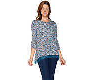 LOGO Layers by Lori Goldstein Printed Knit Top with Lace Hi-Low Hem - A285365