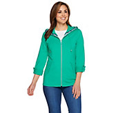 As Is Susan Graver Weekend French Terry Zip Front Hooded Jacket - A286765