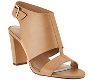 As Is H by Halston Leather Block Heel Sandals - Catrina - A287565