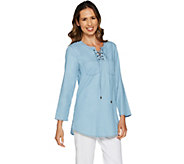 Belle by Kim Gravel Stretch Lace-Up Shirt with Bell Sleeves - A288965