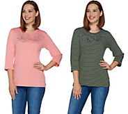 As Is Quacker Factory Set of 2 Stripe & Solid 3/4 Sleeve T-shirt - A291965