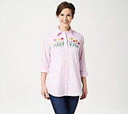 Quacker Factory Striped Button Front Embroidered Woven Tunic - A302765