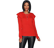 Du Jour Rib Knit Sweater with Ruffle Shoulder Detail - A303265