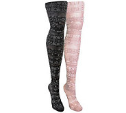 MUK LUKS Womens 2-Pair Pack Patterned Microfib er Tights - A330965