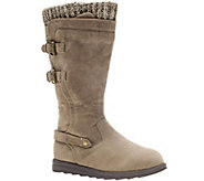 MUK LUKS Nora Faux-Suede Boots with Knit Cuff &  Buckles - A337765