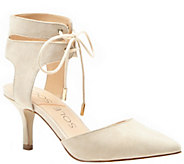 Sole Society Ankle Tie Mid-Heel Leather Pumps -Lolita - A340265