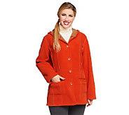 Susan Graver Bonded Fleece Reversible Bi-Color Hooded Coat - A81865