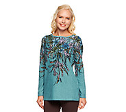 George Simonton Floral Print Heather Knit Top - A84565