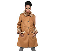 Isaac Mizrahi Live! Button Front Reversible Shearling Coat - A217666