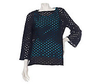 George Simonton Embroidered Eyelet Bell Sleeve Tunic w/Tank - A223566
