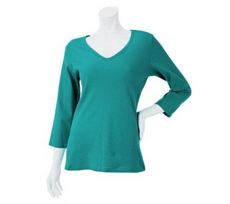 Liz claiborne new york essentials 3 4 sleeve ribbed t for Liz claiborne v neck t shirts