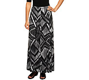 Susan Graver Printed Liquid Knit Maxi Skirt - A226866