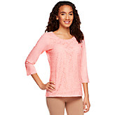 Liz Claiborne New York 3/4 Sleeve Lace Front Knit Top - A240866