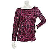 Bob Mackies Baroque Print Jersey Knit Pullover Long-Sleeve Top - A251366