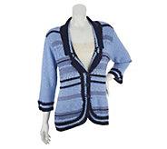 Liz Claiborne New York Notch Collar Mixed Stitch Crochet Blazer - A252366