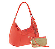 Isaac Mizrahi Live! Bridgehampton Leather Hobo with Wristlet - A254066