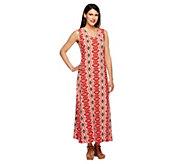 Denim & Co. Regular Sleeveless V-Neck Print Maxi Dress - A254466