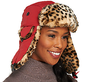 Trapper Hat with Ear Flaps in Leopard Faux Fur Trim
