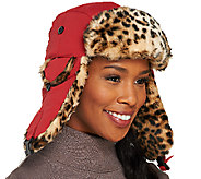 Trapper Hat with Ear Flaps in Leopard Faux Fur Trim - A258066