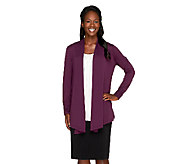 Susan Graver Premier Knit Long Sleeve Cardigan with Ruched Cuffs - A259566