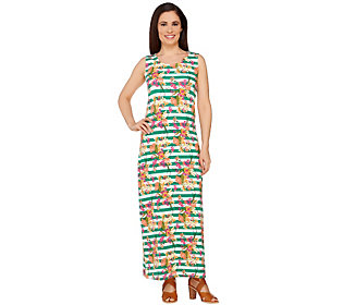 Liz Claiborne New York Petite Floral Stripe Maxi Dress
