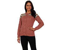 Aran Craft Merino Wool Jacquard Crew Neck Cardigan - A263766