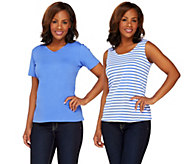 Bob Mackies Solid Knit T-shirt and Stripe Knit Tank Set - A265366