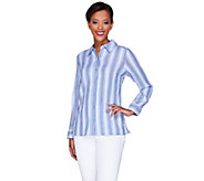 Denim & Co. Crinkle Stripe Button Front Long Sleeve Shirt - A266866