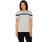 Denim & Co. Active Scoop Neck Short Sleeve Colorblock Top - A267966