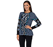 Bob Mackies Long Sleeve Printed Pullover Sweater - A269566