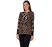 Bob Mackies Long Sleeve Printed Pullover Sweater - A269566