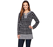 Susan Graver Printed Liquid Knit Split Neck Tunic with Trim - A273466