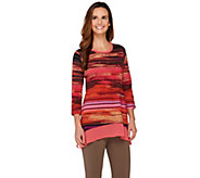 LOGO by Lori Goldstein Printed Knit Top with Chiffon Trim - A274066