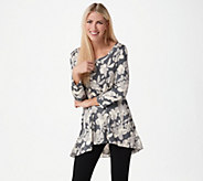 LOGO by Lori Goldstein Printed Knit Top with Hi-Low Hem and Chiffon - A274966
