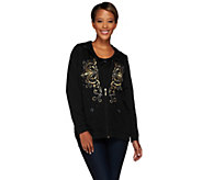 As Is Quacker Factory Golden Embroidered Jacket & T-shirt Set - A278166