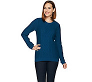 Susan Graver Cable Knit Long Sleeve Crew Neck Sweater - A281166