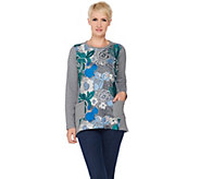 LOGO Lounge by Lori Goldstein French Terry Top with Crochet Front - A282166