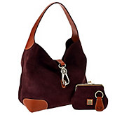 Dooney & Bourke Suede Hobo with Logo Lock & Accessories - A282666