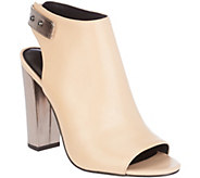 As Is H by Halston Leather Peep-Toe Bootie withe Block Heel - Natalie - A283566