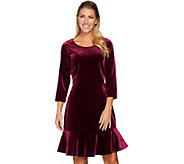 Isaac Mizrahi Live! Knit Velvet 3/4 Sleeve Dress with Flounce - A284866