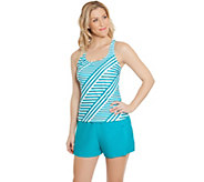 As Is Ocean Dream Signature Stripe Play Tankini Swimsuit - A285066
