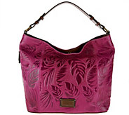 As Is Tignanello Palm Embossed Glazed Vintage Leather RFID Hobo Bag - A285866