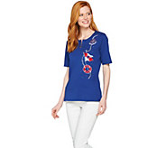 Quacker Factory Embroidered Elbow Sleeve Half-Zip Knit T-shirt - A287066