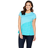 H by Halston Engineered Wave Print Color-Block T-shirt - A287166