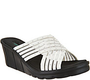 Skechers Cross-Band Slide Wedge Sandals - Star Light - A287766