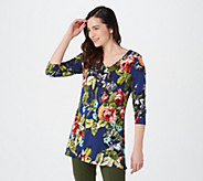 Attitudes by Renee Printed V-Neck Tunic with Pockets - A288166