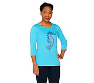 As Is Quacker Factory Summer Animal 3/4 Sleeve T-shirt - A288266